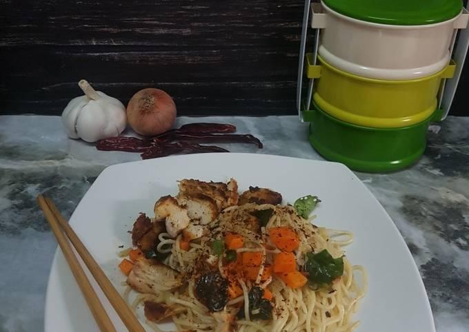 Spaghetti Ayam Grill