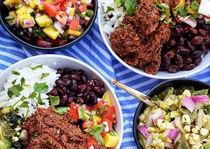 Burrito Bowls with Chipotle-Lime Shredded Wagyu Beef