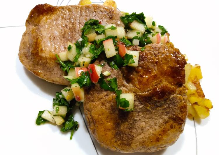 Allspice pork chops with apple chimichurri