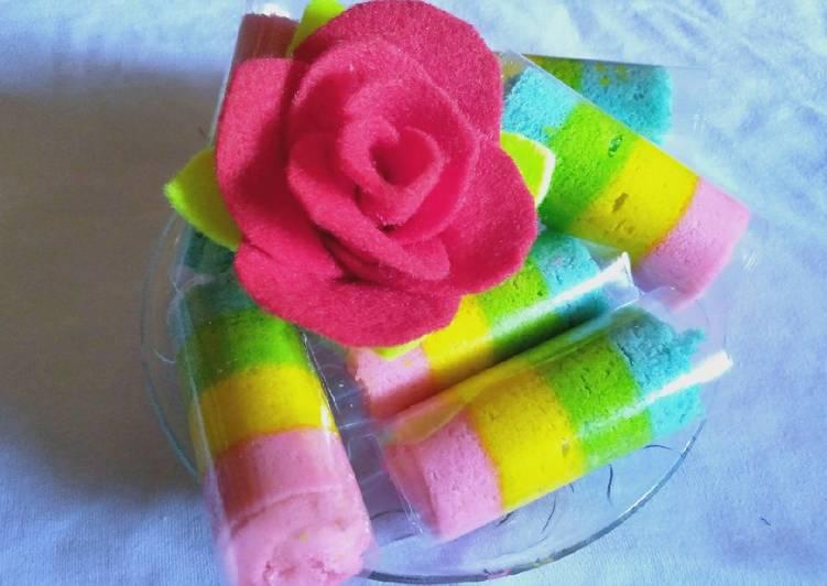 Mini Rainbow Roll Cake (Bolu gulung kukus mini)
