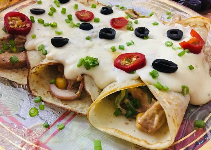 Saucy savoury Crepes... recipe by zoha omer