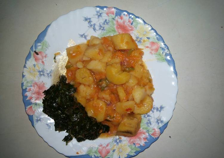 Your Health Can Be Impacted By The Foods You Decide To Eat Matoke and fried spinach