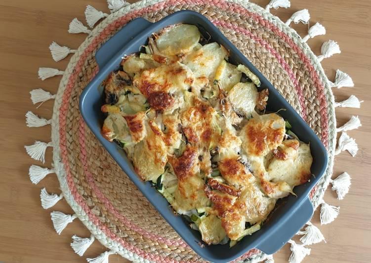 Recettes Gratin de pomme de terre/ poulet/ légumes simple