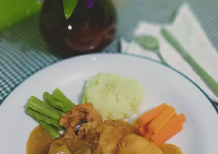 Chicken steak tepung homemade