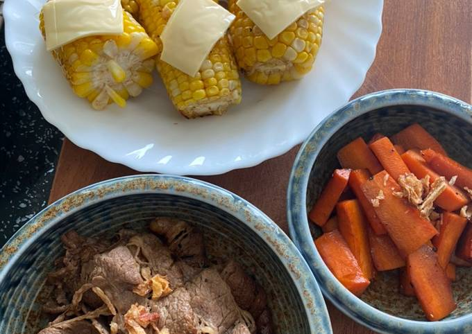 Super Lunch: grilled corn, carrot and beef