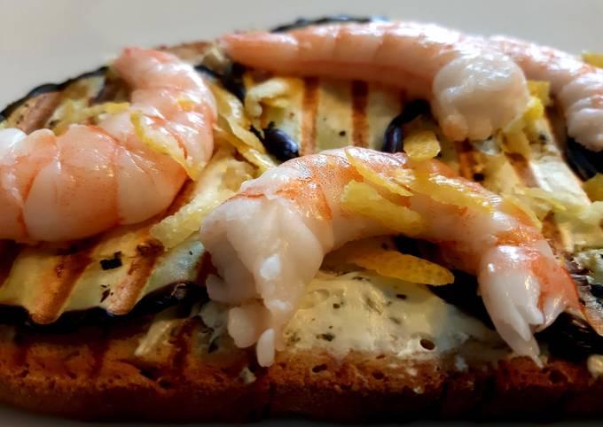 Lemon shrimp on aubergine toast