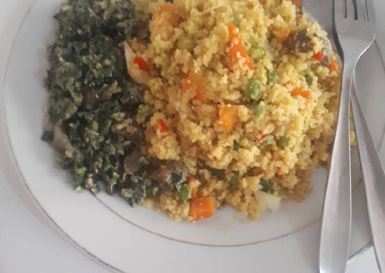 Recipe of Homemade FriedCouscous with spinach salad
