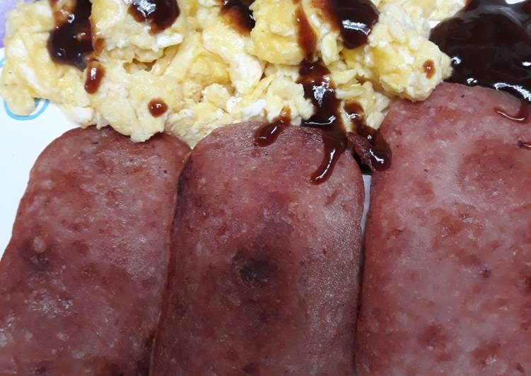 Eggs an Spam with Hp sauce