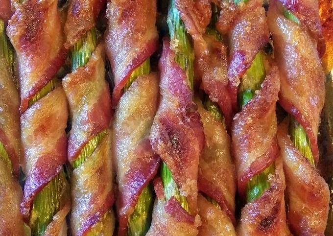 Simple Brown Sugared Bacon-wrapped Asparagus