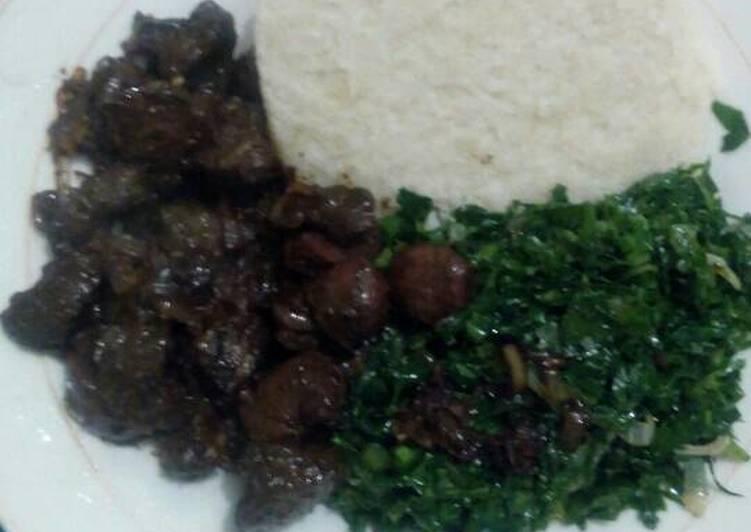 Recipe: Appetizing Fried beef kidney,liver,skumawiki and ugali