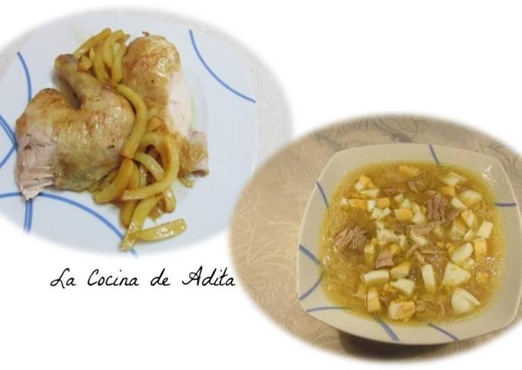 Receta fácil: Delicioso Pollo asado al limón y sopa