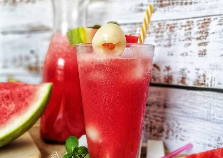 Tembikai Laici Soda #maratonraya #minuman - resepipouler.com