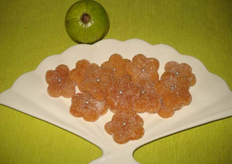 Steps to Make Super Quick Homemade - Guava(Amrood) murabba candy flowers (without any preservative and artificial colour)