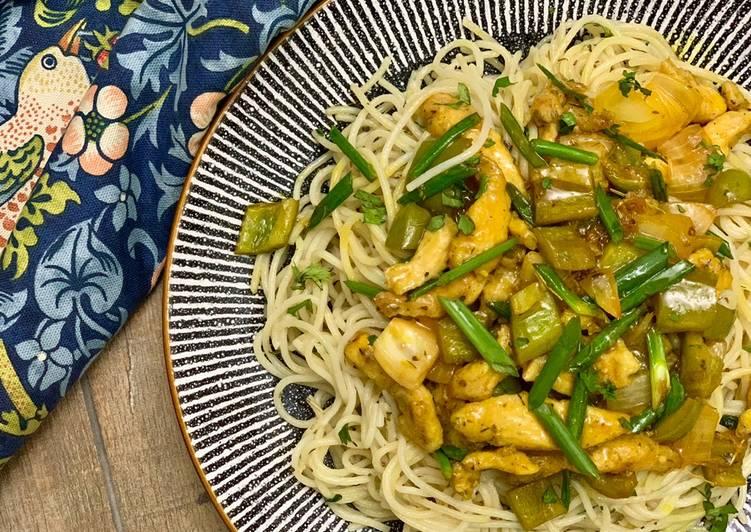 Recipe of Perfect Mango Habanero Chicken with Olio Spaghetti 🍝