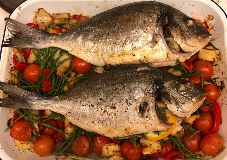 Recipe of Award-winning Oven roast harissa sea bream on samphire 🐟🌿