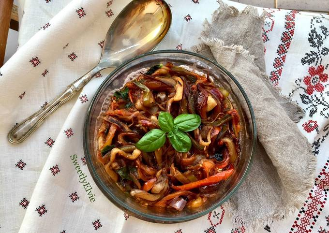 Melanzane e peperoni in agrodolce