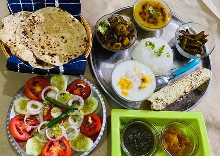 Recipe of Any-night-of-the-week Barbatti Aloo,Mango Raita & Fried Parwal(pointed gourd)