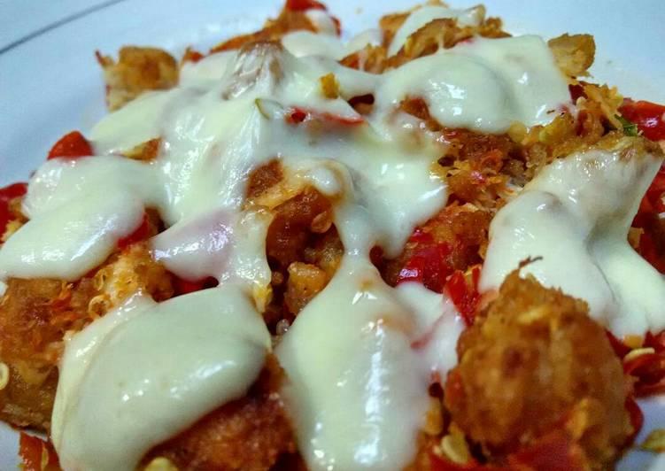 Ayam gepuk keju mozarella with saus BBQ ala pawon naylee