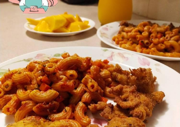 Macaroni Goreng + Ayam Keping