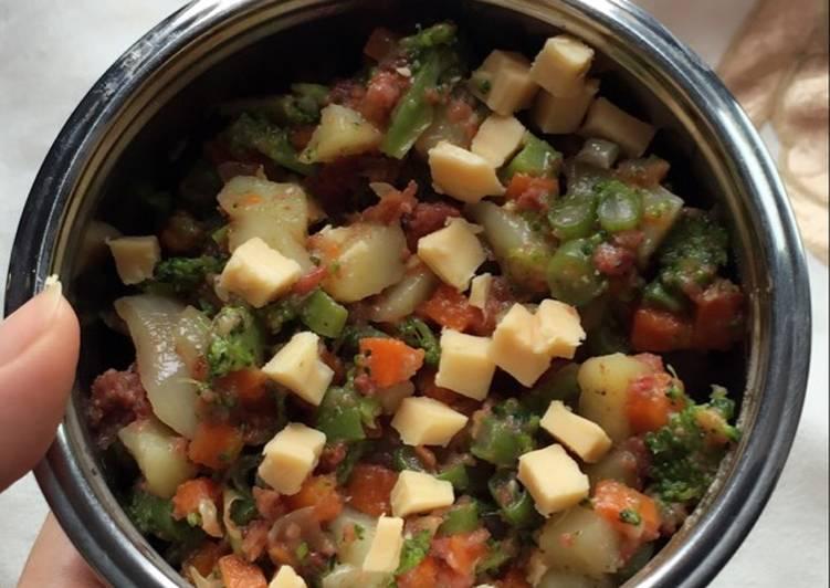 Tumis sayur kornet toping keju untuk anak 1 tahun