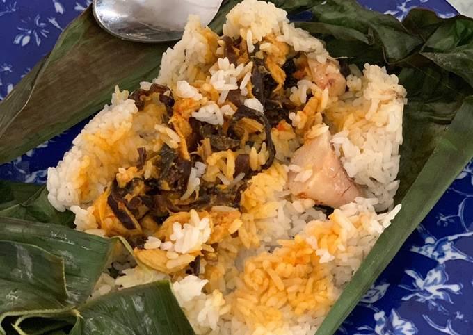 137. Nasi Bakar Ayam Suwir + Jamur Pedas