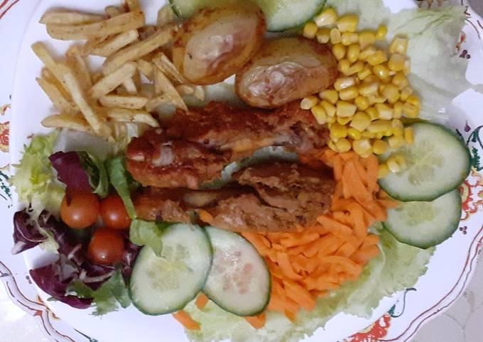 Chicken Steamed Roast with Salad
