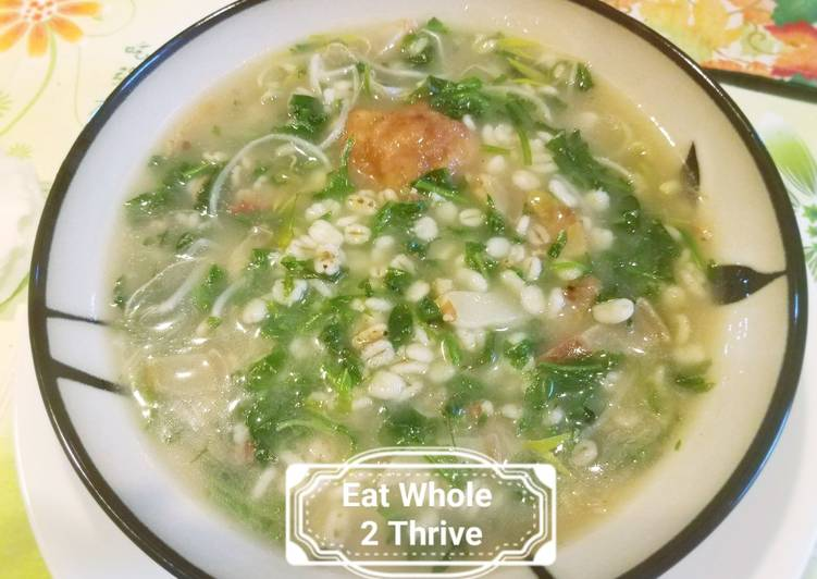 How to Make Tasty Barley Shepherd's Purse fish ball congee 大麦荠菜鱼丸粥