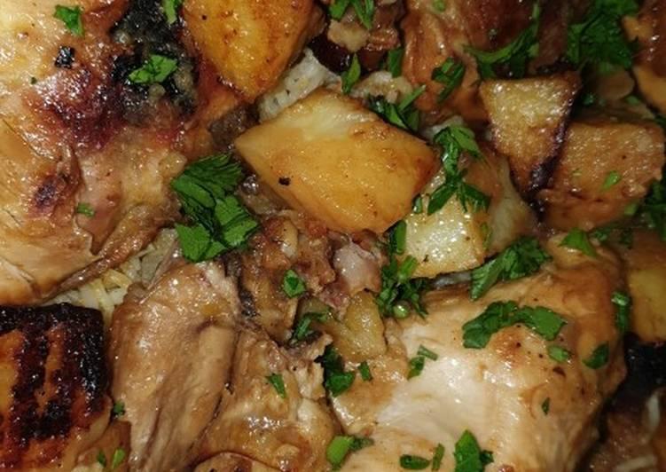 دجاج بالصويا صوص مع رز بالجزر