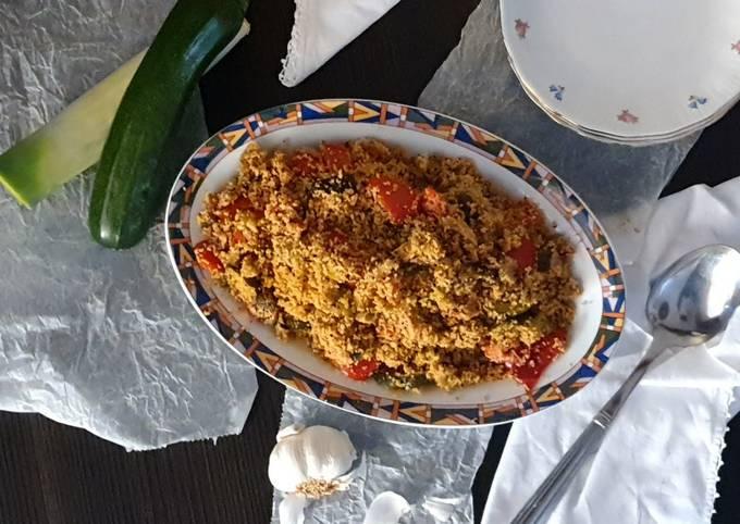 Cous cous integrale con lenticchie e verdure