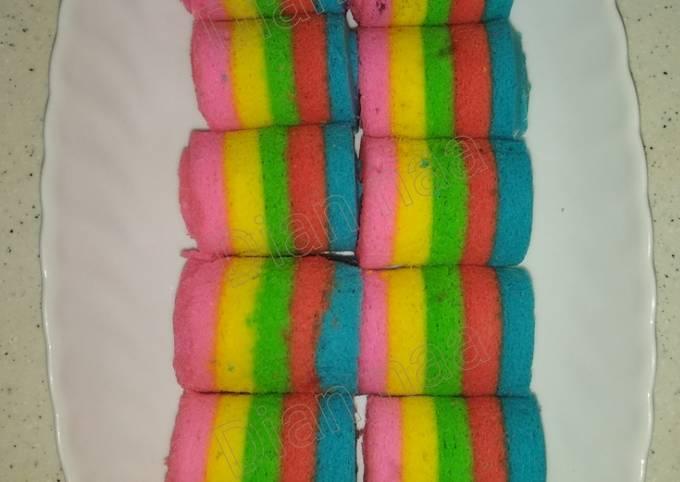 Langkah Mudah untuk Menyiapkan Mini Rainbow Roll cake, Bikin Ngiler