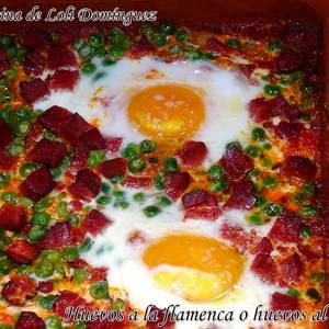 Huevos a la flamenca o huevos al plato