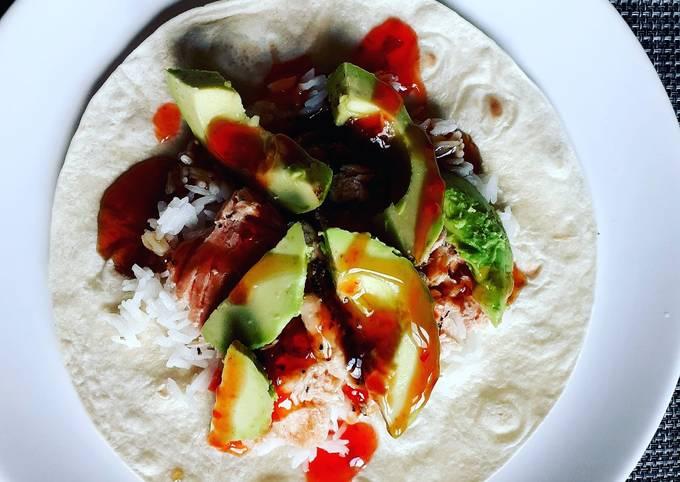 Salmon and avocado enchilada
