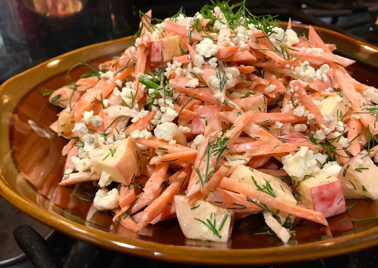 Easy Carrot & Apple Salad with Dill & Blue Cheese