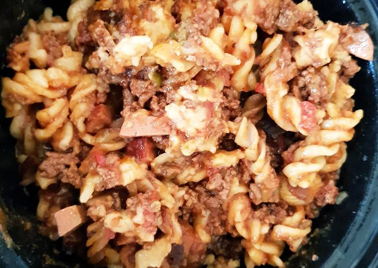 Recipe of Favorite My SlowCooked Peppered Beef mince & Smoked Sausage Pasta. 😀