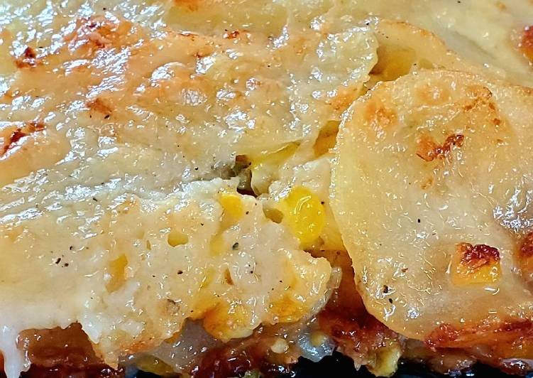 Jalapeno Corn Scalloped Potatoes with garlic and lime bechamel