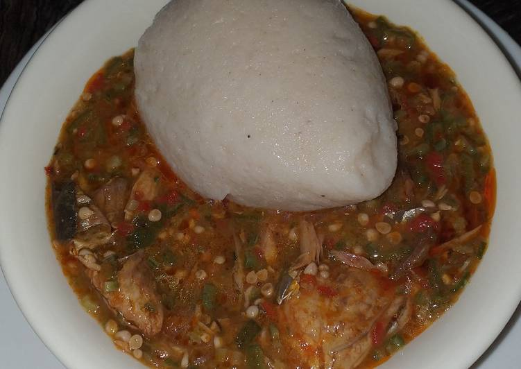 Simple Way to Make Super Quick Homemade Maize and cassava swallow with okro soup
