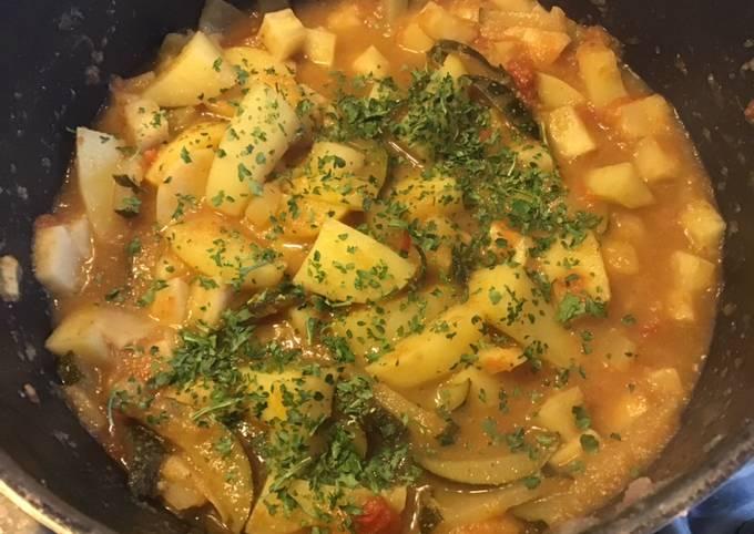 Mijoté de céleri rave courgette tomates pommes de terre et citron confit