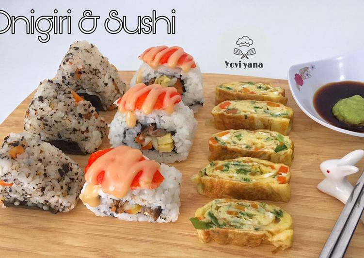 Onigiri with beef grill & sushi crab mayo with beef