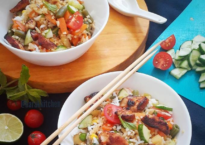 Easiest Way to Prepare Quick Healthy Rice Bowl with Stir Fried Chicken