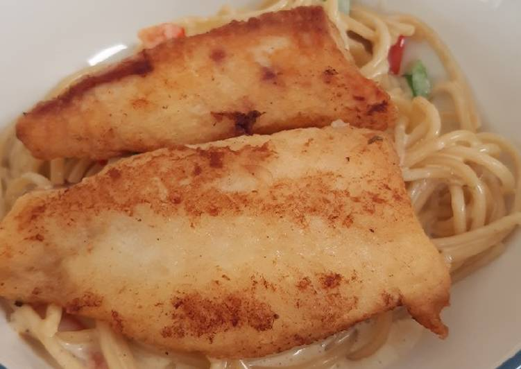 Grilled dory and creamy pasta