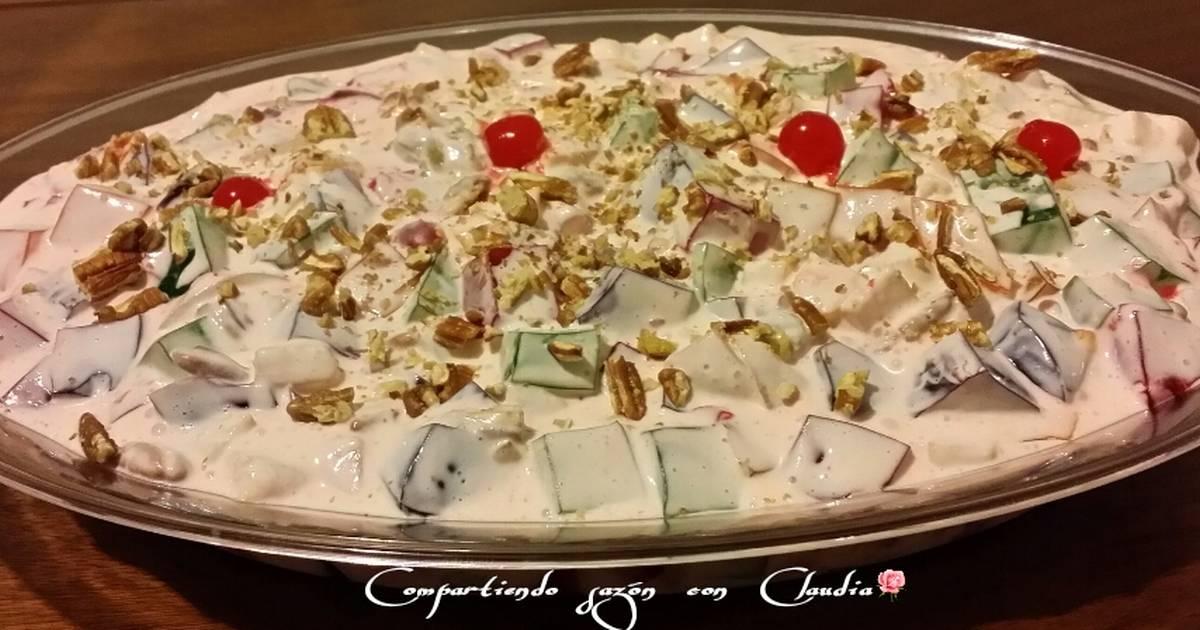 receta de gelatina de fresa con crema y nuez
