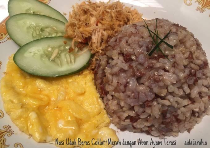 Nasi Uduk Beras Coklat+Merah dengan Abon Ayam Terasi