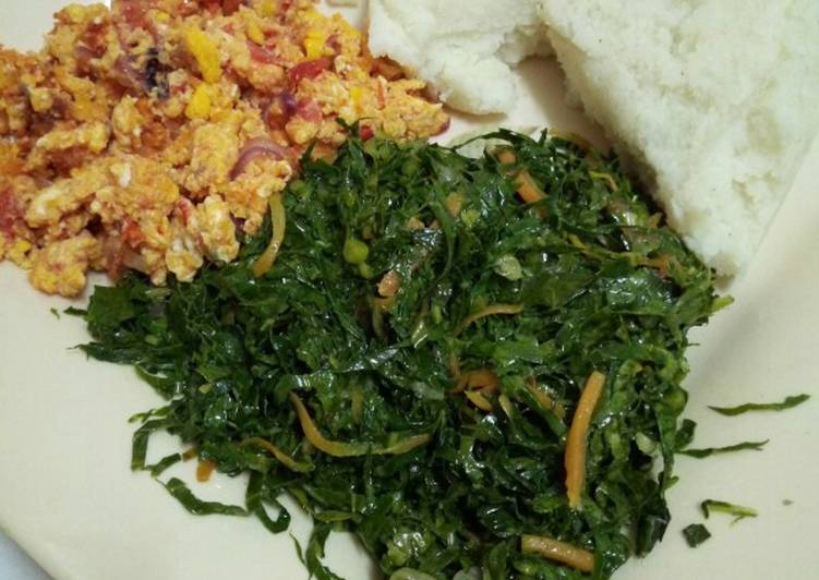 Carrot greens with crumbled eggs