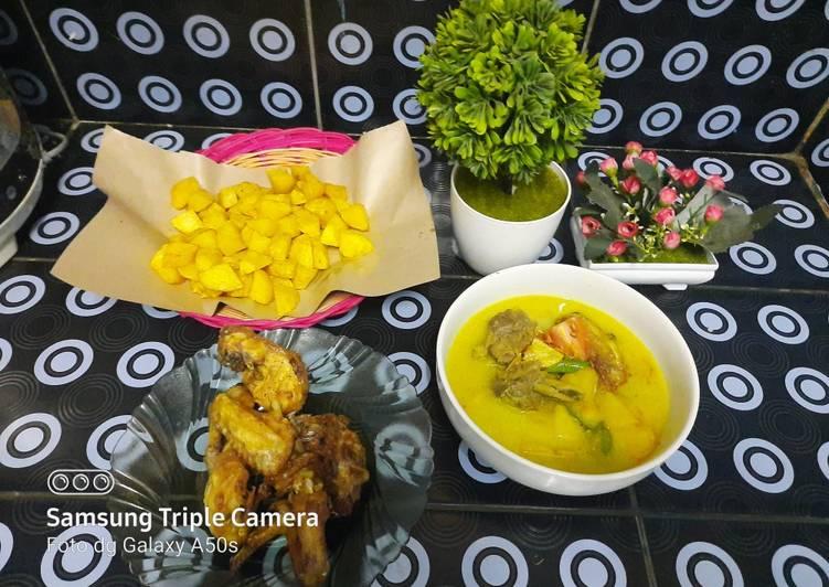 Soto daging sapi dan ayam santan kuning 😂😍