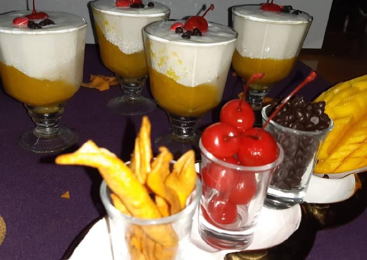 Mango lychee panna cotta