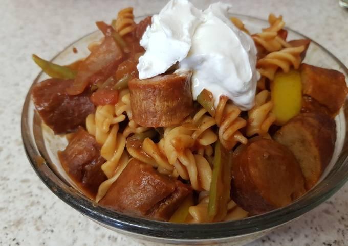 My Chilli Sausage, Tomatoes, Pasta dish. 😉