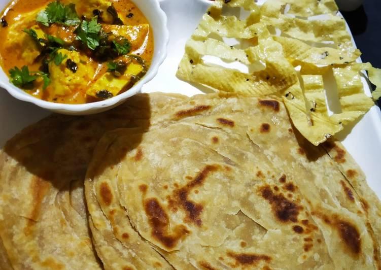 Dum paneer handi masala with Lachha Paratha