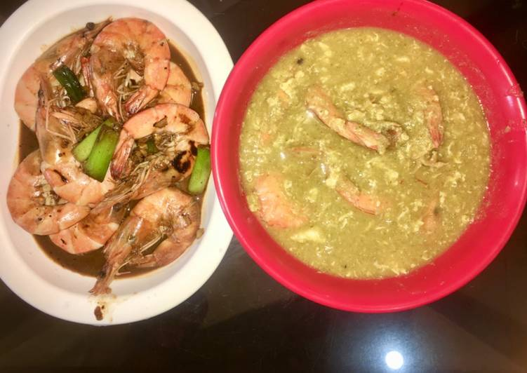 Broccoli egg drop soup with prawns
