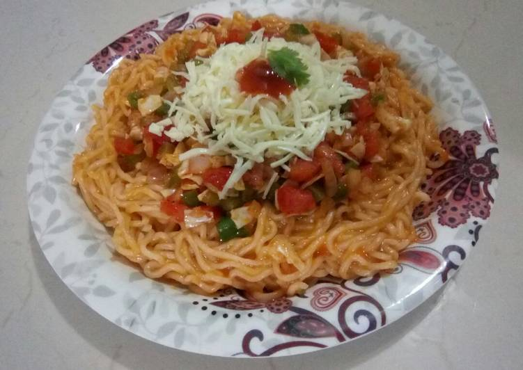 25 Minute Recipe of Speedy Cheesy Schezwan noodles with stirfry vegetables