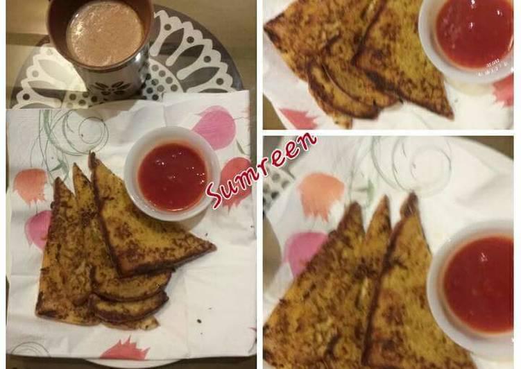 Breakfast, Bread Omelette Recipe With Tea